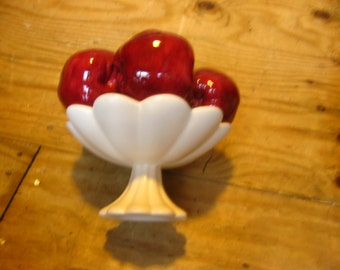 Antique Ceramic Apple Bowl Stand
