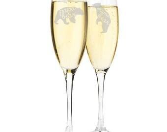 Papa Bear and Mama Bear Engraved Champagne Flutes - CF45520-ED11L