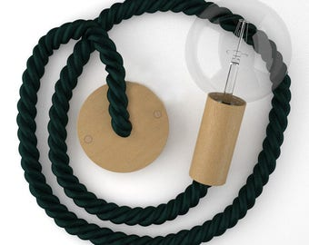 Pendant Lamp Made From Green Rayon Rope  and Beech wood