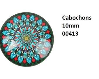 10 cabochon motif selection, 10 mm glass blocks glass cabochon motif Mandula, Kaleidoscope