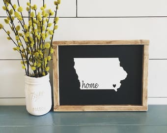 Iowa Sign, Farmhouse Decor, Sign, Wood, Handmade
