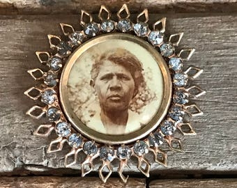 African American antique vintage jeweled photo brooch, sweetheart pin, love token