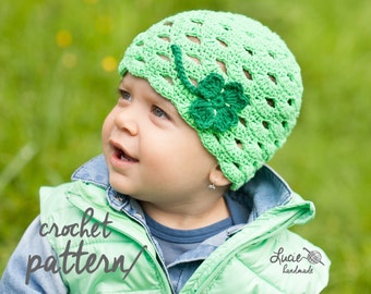Crochet Hat PATTERN No.11 - Spring Hat Crochet Pattern, Autumn Hat, Four Leaf Clover