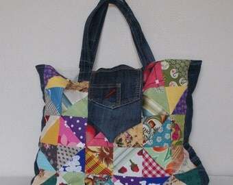 Multicolor patchwork bag and jean's