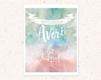 "Mint and Pink Watercolor Poster ""Get Inspired"" Happy Birthday poster 16x20, Birthday Sign"