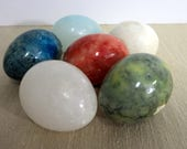 Alabaster Stone Eggs, Six Stone Eggs, Made in Italy, Vintage Stone Eggs - E105