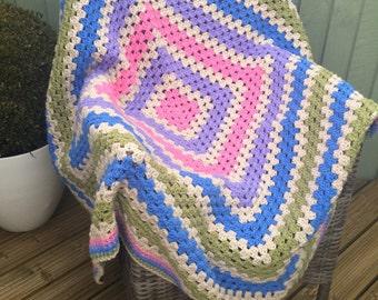 Chunky Square Handmade Crochet Blanket, vegan blanket, vegan throw, crochet throw, granny square throw, granny square afghan, square blanket