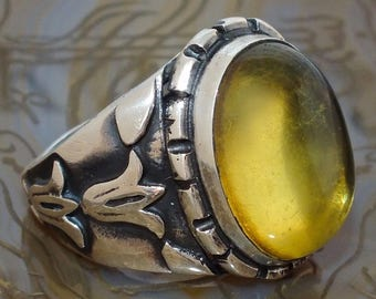Mens Ring Sterling Silver with Baltic Amber - unique piece of mens jewelry