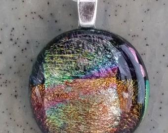 Fused glass pendant, art glass, dichroic glass jewelry