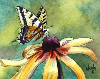 Original Artwork//Butterflies//Western Tiger Swallowtail//Flowers//Miniature Art