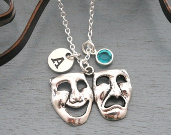 Theater Necklace, Personalized Happy Face Sad Face Necklace, Tragedy Comedy Necklace, Initial Necklace, Letter Birthstone Necklace, Theater