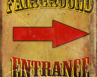 Fairground Entrance Vintage Retro Style Metal Sign Funfair Circus Carnival Great Collectable