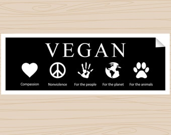 VEGAN - Bumper Sticker - Black