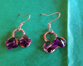 Swarovski Purple Butterfly Earrings