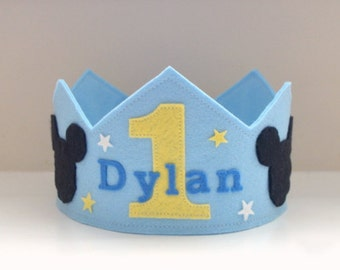 Wool Felt Crown Baby Mickey, Birthday Crown, Boy Crown, First Birthday, Personalized, Velcro Closure, Photo Prop, Smash Cake