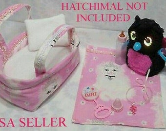 For Hatchimals GLITTER Hatching Toy Egg Handmade Clothes Dress 7 Pcs Cat Carryout Bed,Mattress,Pillow,Blanket,Baby Bottle,Rattle,Pacifier