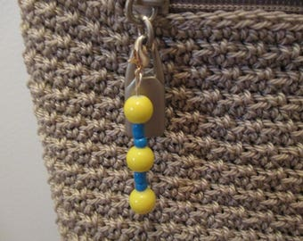 Blue&Yellow Beaded Keychain