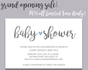 Baby Shower Invitation - Printable Baby Shower Invite - DIY Printable Invite - Customizable - Modern - Simple