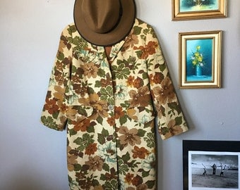 Vintage Handmade Women's Floral Coat with Military Styled Buttons / 1960s Styled Autumn Colored Jacket / Lightweight Faux Belted Coat