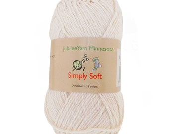 Simply Soft Moon Beam White Cotton Blend Yarn
