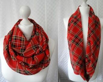 Argyle check print infinity scarf, Circle scarf, Tartan scarf, Print scarf, Scarf for her, Lightweight scarf, Fashion scarf