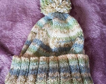 Boy's pom pom hat, 6-12 month
