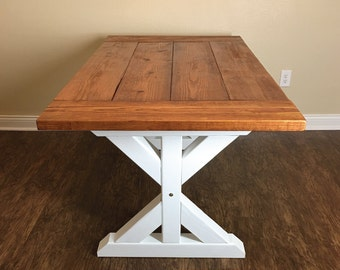 Trestle Table, Farm Table, Trestle Farm Table, Country Table, Country Dining Table, Stained Farm Table, Kitchen Table, Hand Built Table