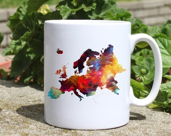 Europe mug - Map mug - Colorful printed mug - Tee mug - Coffee Mug - Gift Idea
