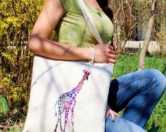 Giraffe tote bag -  Giraffe shoulder bag - Fashion canvas bag - Colorful printed market bag - Gift Idea