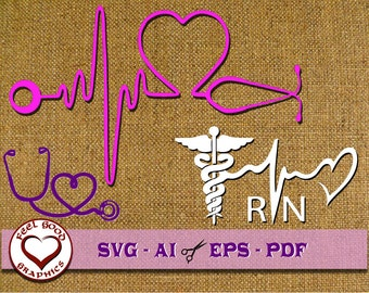 Nurse Svg, Nurse Monogram, SVG Files, Cricut SVG, Silhouette SVG, Nurse heartbeat SvG
