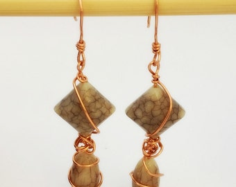 Grey Stone Effect Wire-Wrapped Earrings