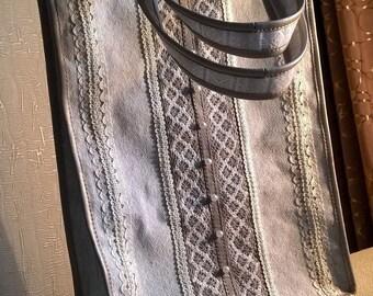 Beautiful handbag hobo/tote bag with laces and beads_Fisenko brand