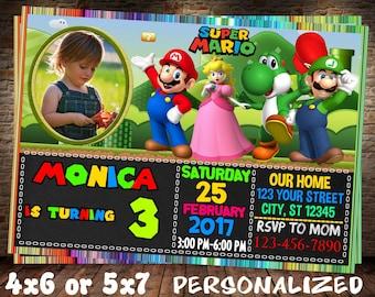 SUPER MARIO Invitation. Super Mario Brother Invitation. Super Mario Brothers Birthday Invitation. Super Mario Bros Birthday Invitation