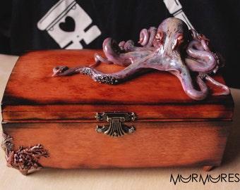 Unique ocean sea octopus casket jewelry box creepy gift