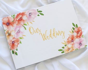"Guest Book A4, Wedding Photo Book, ""Anemone Floral"", Weddings, Engagements, Birthdays, Anniversaries"
