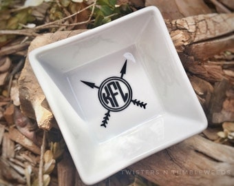 Arrow Monogram Ring Dish Personalized Gift Monogrammed Jewelry Dish Ring Holder