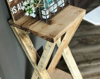 Rustic Handmade Side Table End Table Farmhouse Furniture Night Stand Made from Reclaimed Wood Barn style table