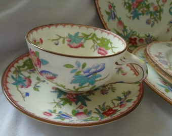 Minton china cups, saucers, and plates