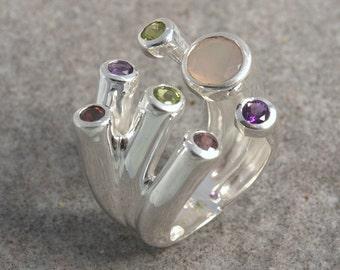 Ring multi stones silver 925.