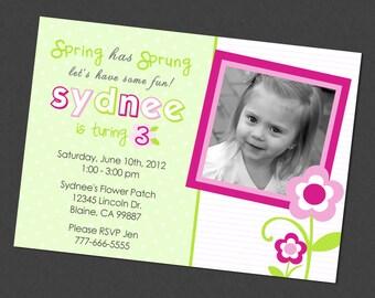 Girly Spring Flower Birthday Invitation