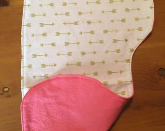 Burp cloth, arrows, pink
