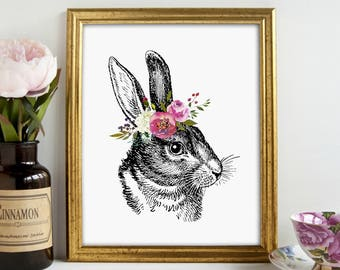 Vintage Bunny, Bunny Print, Easter Decor, Girls Bedroom, Nursery Print, Wall Art, Printable Art, Printable Wall Decor, Instant Download