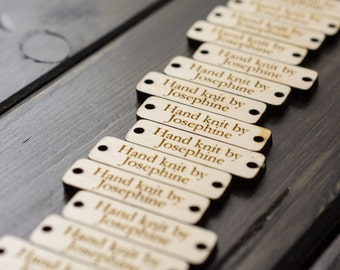 Product tags, Personalized wood labels, wood tags, wood labels for knitting - Maple