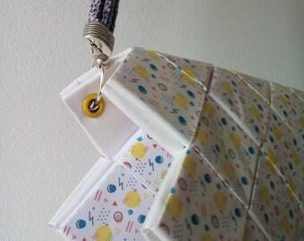 Unique handmade woven paper purse clutch memphis pattern