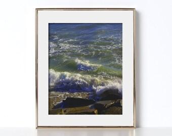 Ocean Print Wall Art Digital Download Printable Art Beach Vibes Tropical Decor Tiki Office Print Zen Art Beach House Decor Beach Art Waves