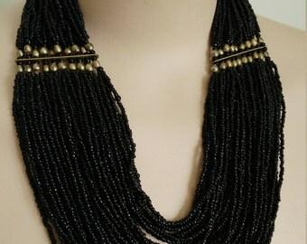 Vintage Black Gold Multistrand Beaded Statement Necklace