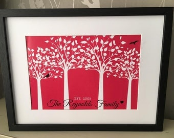 Bespoke Family print with tree & bird design in red
