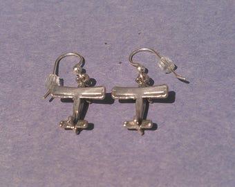 Airplane Dangle Earrings in Solid Sterling Silver