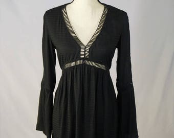 Black Beach Cover-up Dress with Cut Outs
