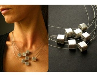 Necklace, necklace, silver, new handmade silver platet balls, cubes, silver clasp